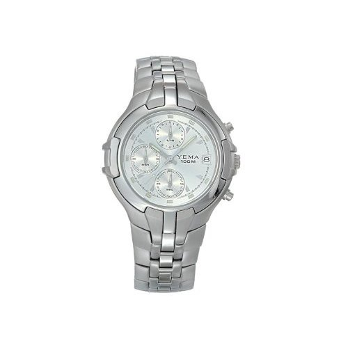 9d809f632 YEMA by Seiko of France Men s Silver Tone Sport Quartz Chronograph Watch  Model YM899