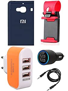 NIROSHA Cover Case Car Charger Mobile Holder Charger for Xiaomi Redmi 2s - Combo