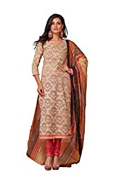 Taos Brand cotton dress materials for women womens dress materials cotton salwar suit New Arrival latest 2016 womens party wear Unstitched dress materials for women (1349 summer__cream and brown_freesize