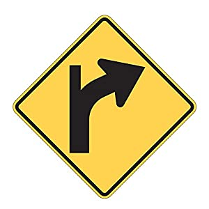 MUTCD W1-10b Right Curve Keep Straight Sign, 3M Reflective Sheeting, Highest Gauge Aluminum,Laminated, UV Protected, Made in U.S.A.