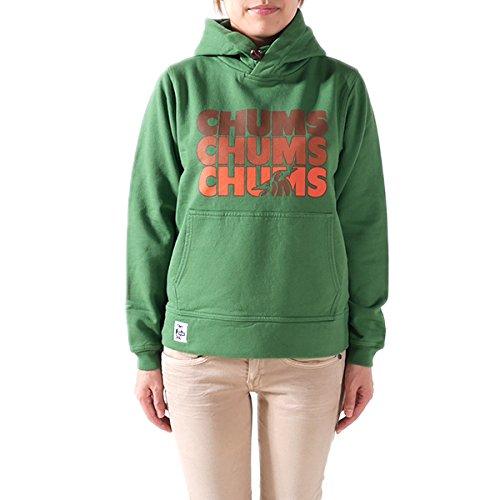 CHUMS チャムス プルオーバー スウェットパーカー 3 CHUMS Pull Over Parka CH10-0546 スウェット スエット プルオーバー パーカー 長袖 ロゴ プリント レディース 正規取扱品 (WS, 8.Green(7528))