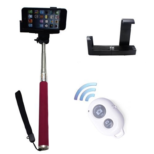 PINPO (TM) Pink Extendable Durable Selfportrait Photo Selfie Handheld Stick Monopod With Adajustable Phone Holder Stand for iPhone 5/5s 5C iPhone 6 Samsung Blackberry Camera & White Wireless Camera Bluetooth Self-timer Remote Shutter Controller For IOS Android Smartphone (Timer Tripod compare prices)