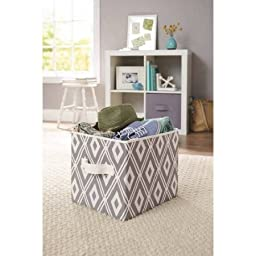 Durable, Stylish Better Homes and Gardens Collapsible Fabric Storage Cube, Set of 2, Multiple Colors, Grey Diamonds