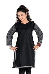 Sruti Women's Cotton Black Kurti -( 503 )-44