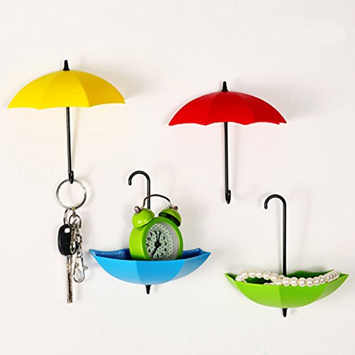 UYIKOO ® 6 PCS Colorful Umbrella Key Holder, Key Hanger,Wall Key Rack,Wall Key Holder,Key Organizer For Keys, Jewelry And Other Small Items (6PCS)
