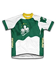 Macau Flag Short Sleeve Cycling Jersey for Women