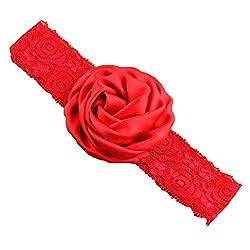 Bellazaara BELLAZAARA Christening Baby Lace Rose Red Flower Headband Head Band (Red)