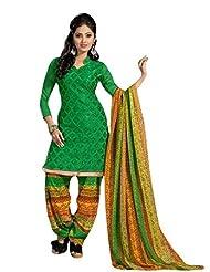 Stylish Patiyala Dress With Chanderi Top And Cotton Bottom And Heavy Butter Print Dupatta - B0191QR8YO