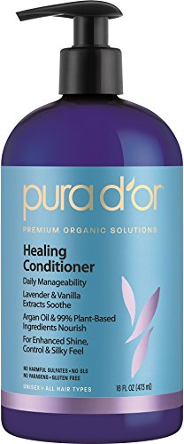 PURA D'OR Lavender & Vanilla Premium Organic Argan Oil Healing Conditioner, 16 Fluid Ounce (Pur Dor Shampoo compare prices)