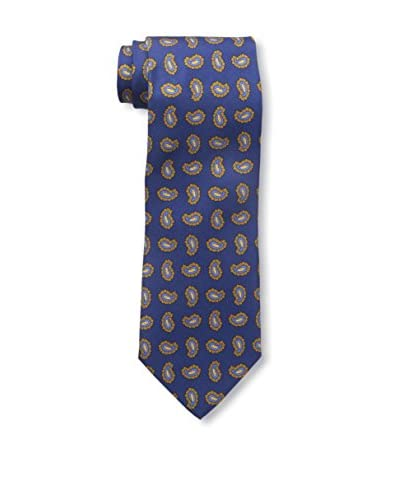 J.McLaughlin Men's Silk Twill Tie, Blue/Gold