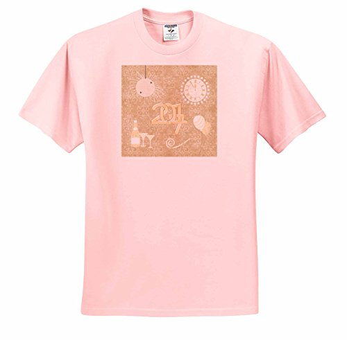 Beverly Turner New Years Design - New Year 2017, Champagne, Glasses, Clock, Balloon, Whistle, Peach - T-Shirts - Adult Light-Pink-T-Shirt 2XL (ts_244246_38)
