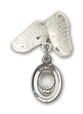 Sterling Silver Baby Badge with Baptism Charm and Baby Boots Pin