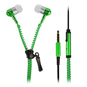 Dhhan Green zipper headphones for Lava FLAIR S1