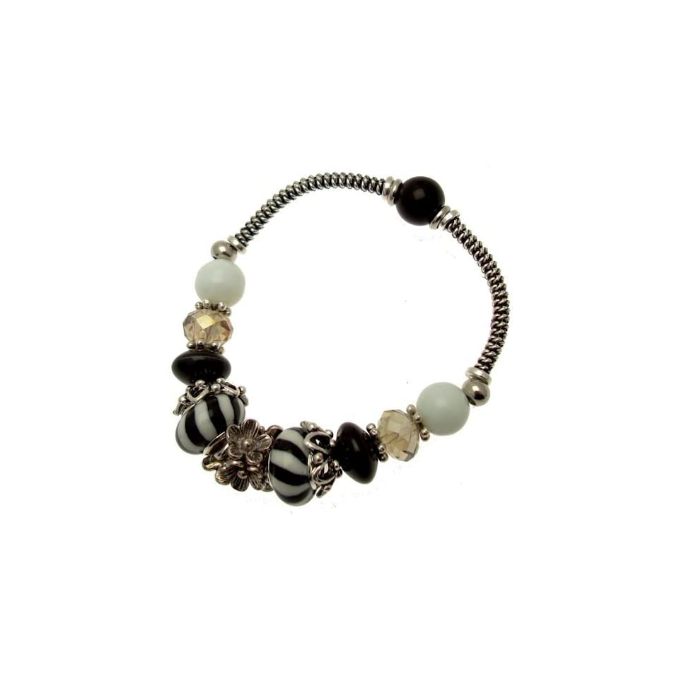 Acosta   Silver Tone Flower Links with Black & White Glass and Crystal Beads   Charm Bracelet (Stretch Design)