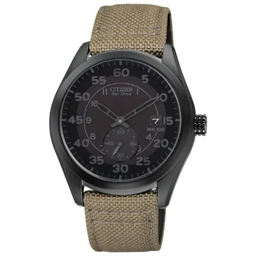 Citizen-Watch-Mens-Quartz-Watch-with-Black-Dial-Analogue-Display-and-Green-Nylo