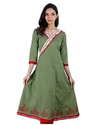 Green Anarkali Kurta From ESTYLe With Cross Style Yoke