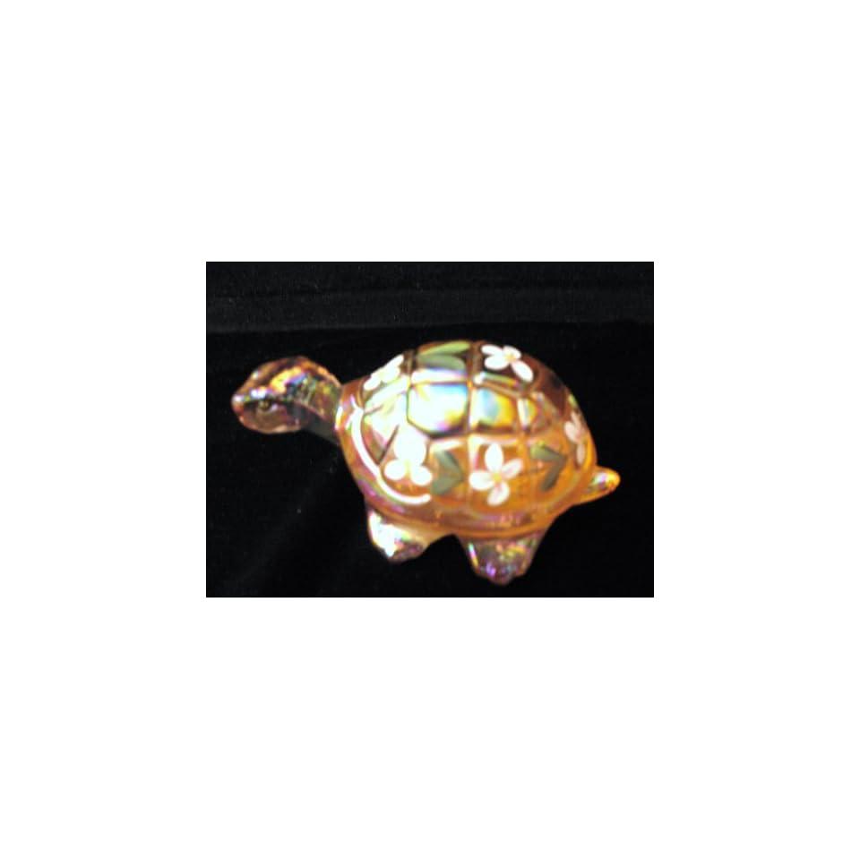 Fenton 4 Pink Carnival Glass Handpainted Turtle