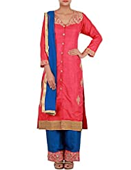 Kalki Fashion Pink Straight Fit Suit Embellished In Zardosi And Zari Embroidery Only On Kalki