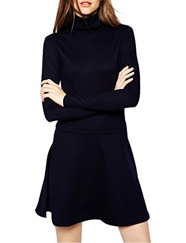 Ladies Long Sleeve Turtle Neck Slim Fit Flounced Dress Solid Color Brief Dresses