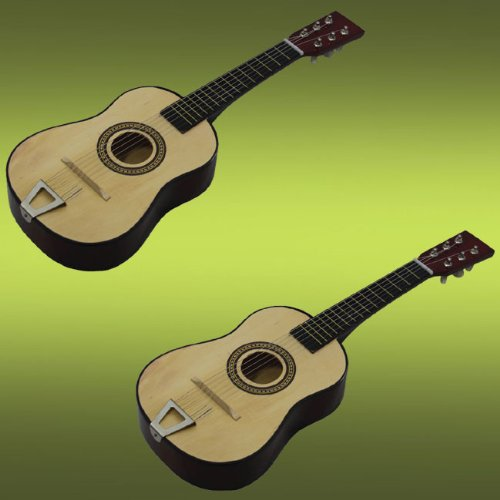 2 Pcs Toy Guitars Kids Musical Instrucment Wooden Finish