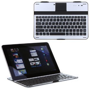 Flystone Removable Qwerty Wireless Bluetooth 3.0 Keyboard Aluminum Case Stand For Samsung Android Tablet Galaxy Note 10.1 N8000 N8010 N8013 (Galaxy Note 10.1 Black)