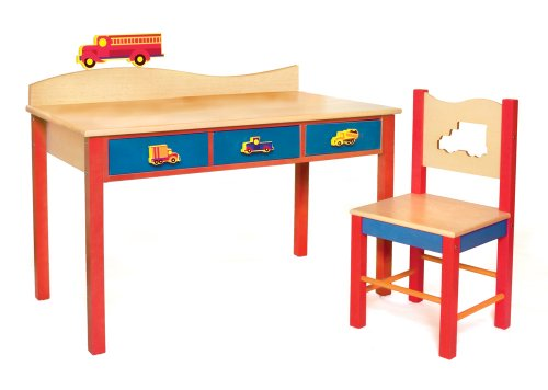 Room Magic Desk/Chair Set, Boys Like Trucks Natural