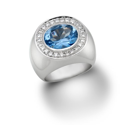 Silver Ring, Sterling Silver, Blue Topaz and