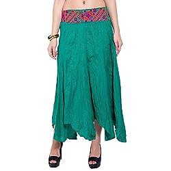 TUNTUK Women's Karma Skirt Green Cotton Skirt