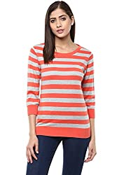 Ajile by Pantaloons Women's Boat Neck Sweater (205000005647150, Red, Medium)