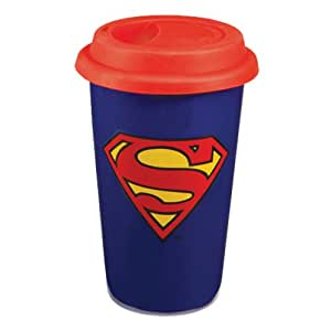 Vandor Superman 12-Ounce Double Wall Ceramic Travel Mug with Silicone Lid, Multicolored