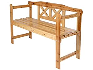 Jago - Banc de jardin terrasse - GRTB02 - en bois - 2 places - 119 x 75 x 40 cm