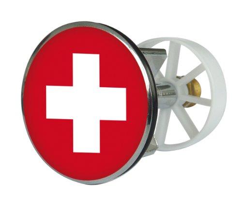 Excenter Drainage Plug Metal 38 mm Swiss Flag Design