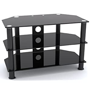 "MountRight GT3 TV Stand For Up To 37"" LED, LCD & Plasma Screen - Black Glass/Black Legs"