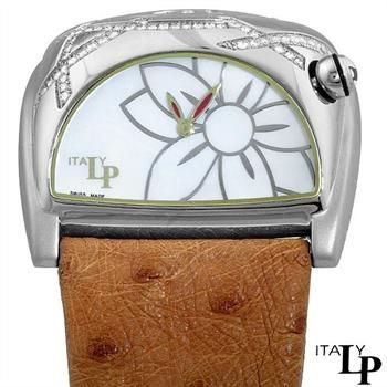 LP ITALY Women's Lorenzo Pozzan Swiss STRATOSPHERE Diamond Brown Leather Strap Watch. PSD205.02.0327