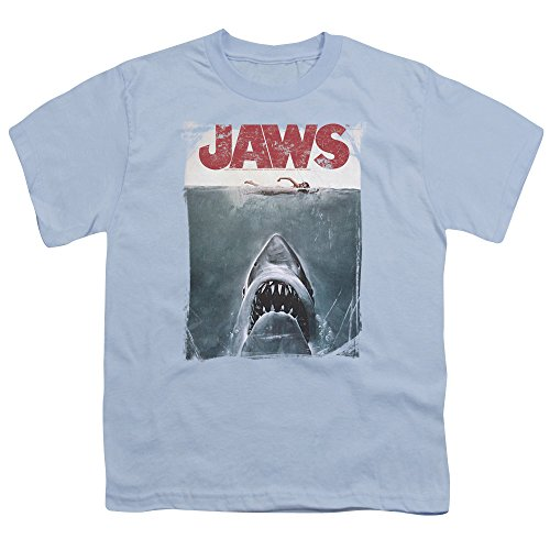 Boys JAWS Classic Shark Thriller Film Classic Distressed Boys T-Shirt Tee - S to XL