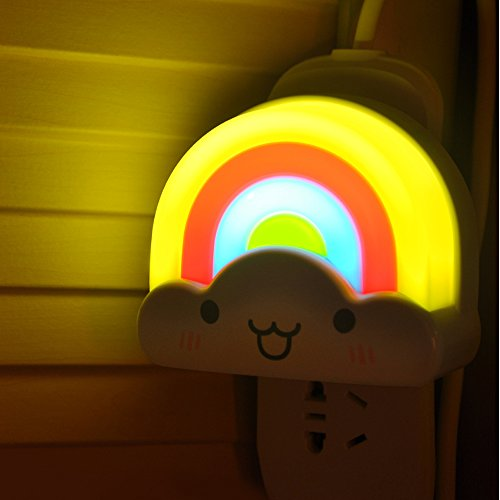 Ecandy Mini Rainbow LED Night Light Lamp with Voice and Light Sensor Perfect for Infant, Child as Sleeping Light, Decorative Light in Nursery, Kids Room