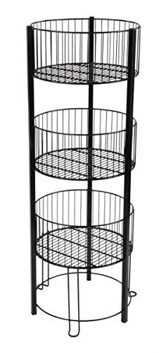 Displays2go 3 Tiered Wire Dump Bin for Floor 16-Inch Round Storage Basket Stand, Black (TIERDB3BK) (Basket Floor compare prices)