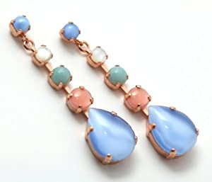 Israeli Amaro Jewelry Studio 'Flow' Collection Dangle Earrings Set with Round and Drop Amazonite, Blue Lace Agate, Mother of Pearl and Pink Mussel Shell; 24K Rose Gold Plated
