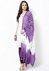 Soundarya Ethnicwear Purple Shaded Cotton Bandhej Handwork Dupatta for Women (3034)