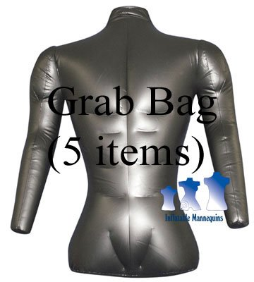 Grab Bag Of 5 Inflatable Mannequins, Male Torso With Arms, Matte Black
