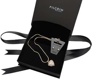 Pilgrim 100004 - Collar de mujer de latón con cristales de swarovski, 38 cm
