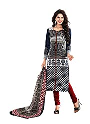 Suhanee Womens Cotton Unstitched Dress Material (Jasmine-4601 _Black)
