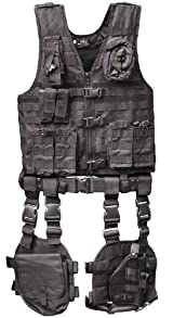 Ultimate Arms Gear Tactical Assault Scenario Stealth Black MOLLE 10 Piece Ambidextrous Complete Kit Set Deluxe Modular Web Vest w/ Hydration Bladder Pocket + 2 Open-Top Double Mag Ammo Pouches + Pistol Mags + Cell Phone Radio Pouch + Adjustable Duty Belt + Medical Utility Pouch + Dropleg Pistol Ambi Holster + Multi Purpose Dump Drop Leg Platform Rig