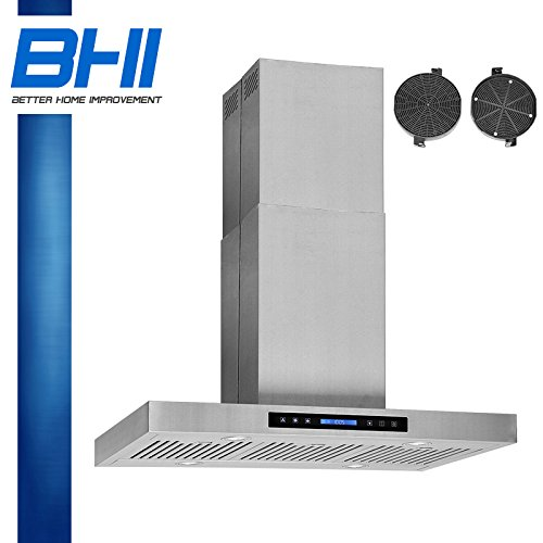 "36"" Island Stainless Steel Kitchen Range Hood Stove Vent With Carbon Filter"