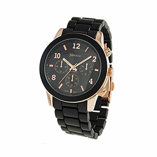 """The """"Boyfriend"""" Watch. Large Sized Ceramic Designer Style Fashion Watch With Black Band Black Face Rose Gold Trim"""
