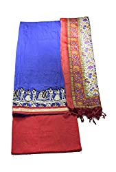 Aaruhi Fashions Womens Blue Chanderi silk dress material with warli art emboridery ,Red salwar and printed duptta