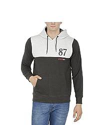 Avas Men's Cotton Sweatshirt (A_47_Black White_Large)
