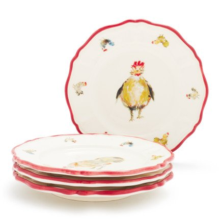 Sur La Table Jacques Pepin Collection Chickens Appetizer Plates 2015/19 , Set of 4 (Chicken Dinnerware compare prices)