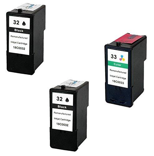 Prestige Cartridge 3 x Lexmark 32 & 33 Tintenpatronen, schwarz/dreifarbig