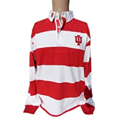 NCAA Indiana Hoosiers Mens Striped Rugby Shirt, Red White by Donegal Bay